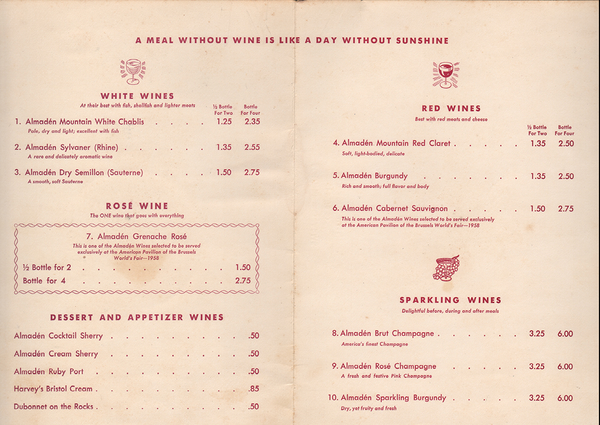 Wine Menu From the Southboro Arms