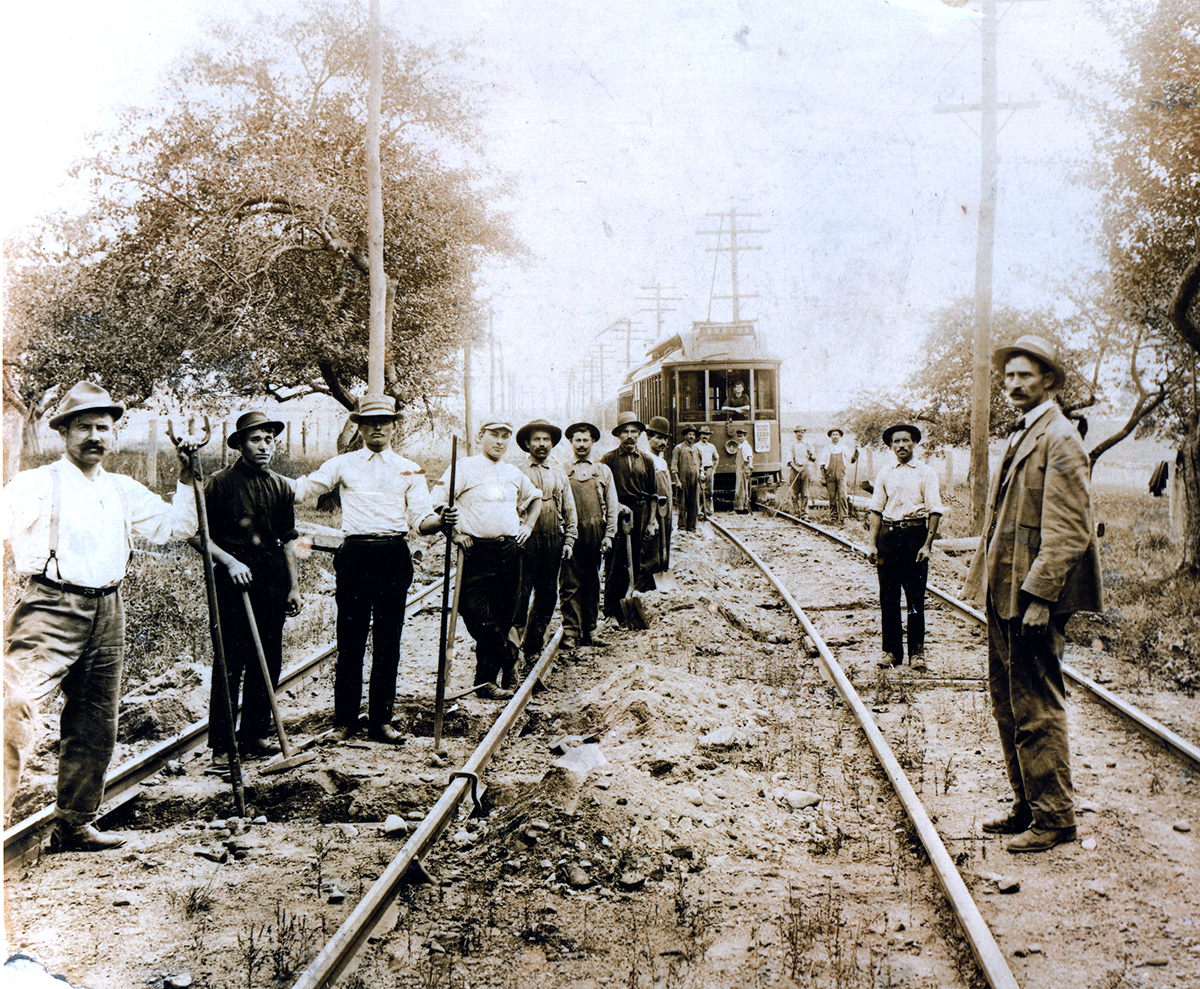 Italian Immigrants Laying the Trolley Line