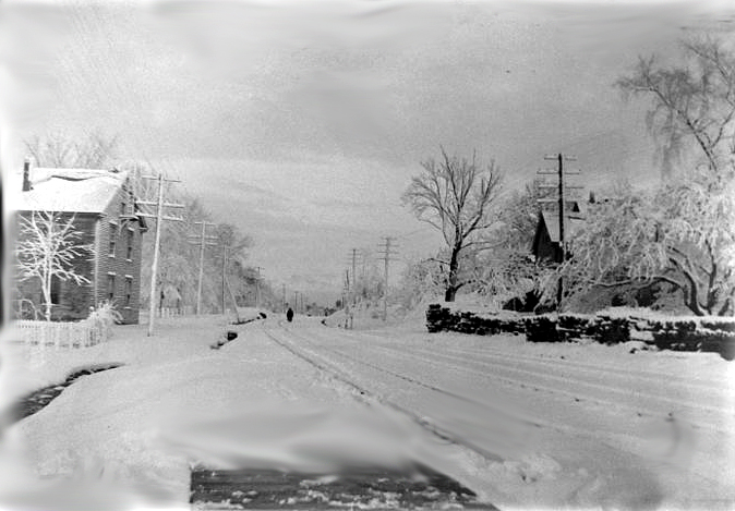 The B&A tracks in winter, looking west in Cordaville
